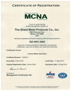 Sheet Metal Company ISO 9001 2008 Certificate 2 Nov 2015-page-001